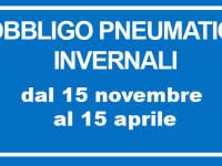 Obbligo di pneumatici invernali o catene a bordo dal 15/11 al 15/04